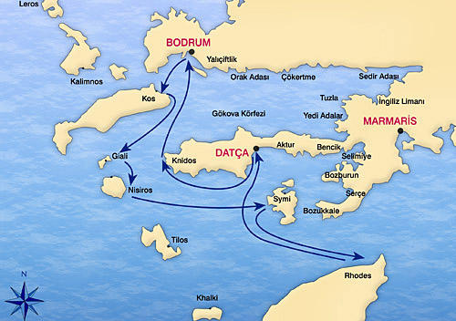 Bodrum Karte.Kabinencharter Bodrum Blaue Reise Bodrum